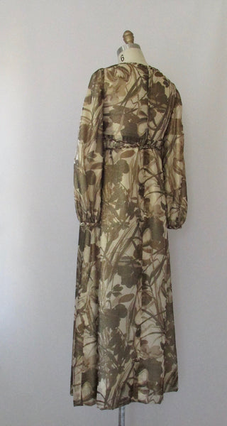 GOLDEN RENAISSANCE 1960s Floral Gold Metallic Empire Waist Maxi Gown, Size Small