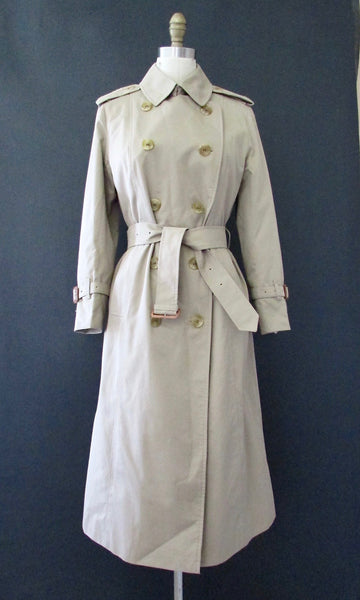 BURBERRY 80s Belted Trench Coat with Nova Check Lining, Size Small