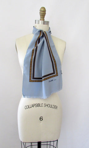 CELINE Vintage 90s Horsebit Print Silk Neck Scarf, Made in France