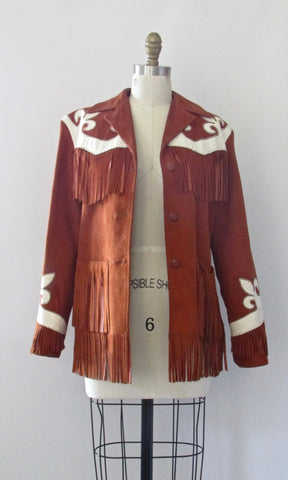 RODEO QUEEN 50s Western Suede Fringe Jacket with Applique, Size Small