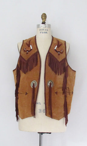 ECHO MOUNTAIN by Arturo 90s Mens Western Suede Vest, Size 44 Large