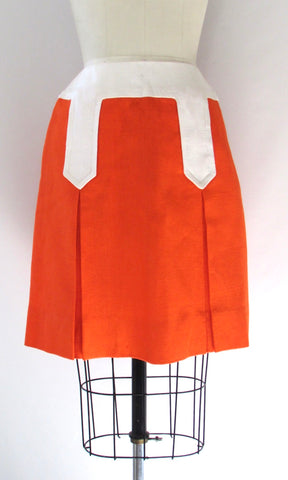 A LA MOD 60s Irish Linen Sloat in Moygashel Orange Mini Skirt, Size Small