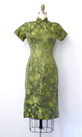 BROCADE CHEONGSAM 60s Cocktail Dress, Size Small