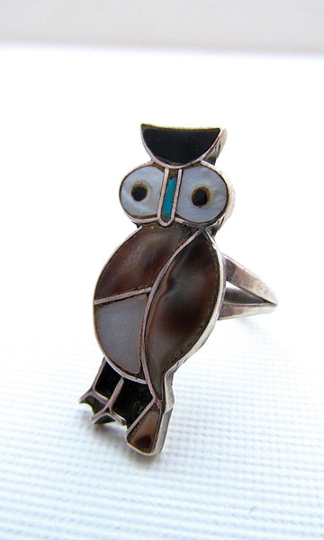 OWL LOVE 70s Zuni Native American Silver Shell Ring, Size 4