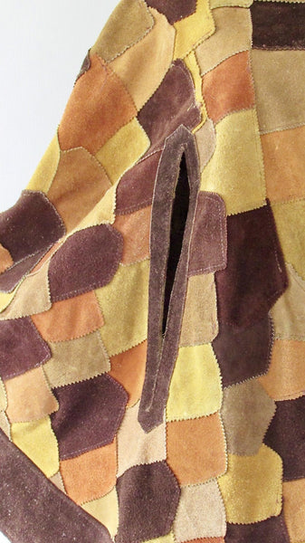 QUEEN OF CAPES 1970s Hippie Patchwork Suede Leather Poncho, Size Med/Lg