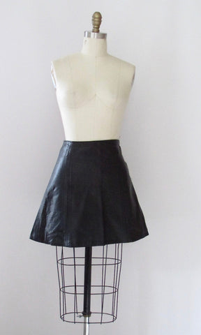 BLACK ROCKS 60s Leather A-Line Mini Skirt, Small