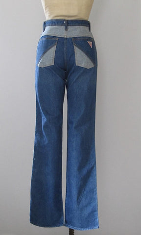 GUESS Georges Marciano Paris 80s Two Tone Stone Wash Jeans, Size Medium