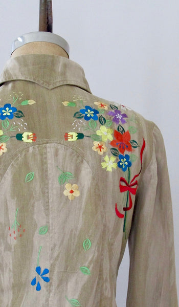TUCKER KNITS 70s Embroidered Denim Jacket & Pants Two Piece, Medium