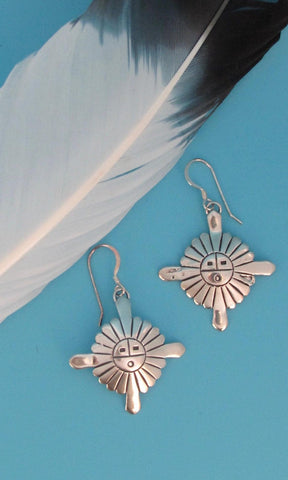 HERE COMES THE SUN, AJM Navajo Silver Sunface Earrings