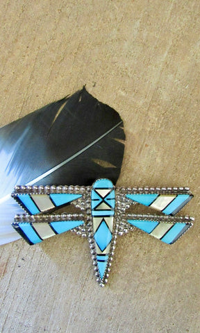 E MARTINEZ Zuni Silver Inlay Turquoise Dragonfly Brooch / Pendant