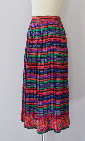 VIBRANT VIBES 80s Pleated Stripe Floral Skirt, Medium