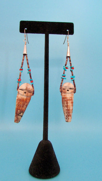 PAPOOSE Vintage Carved Jasper Beaded Dangly Earrings