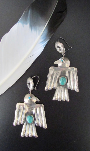 FEDERICO JIMENEZ Large Silver & Turquoise Thunderbird Earrings, Mexican Oaxacan