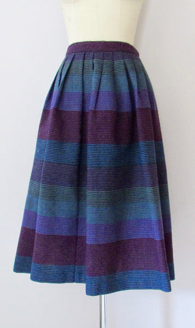 HOW TWEED 60s Norwegian Prestmo Vevstue Midi Wool Skirt, Small