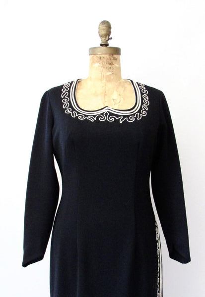 CLARALURA ORIGINAL 70s Dress with Soutache Embroidery, Medium