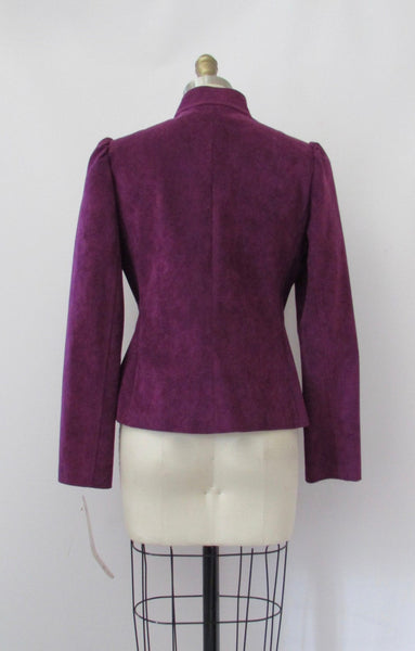 PLUM PRETTY Jane Andre 80s 2 Piece Jacket & Skirt Ultrasuede Suit, Size Small