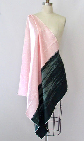 LANVIN Paris 70s Color Block Pink and Green Silk Scarf, Made in France