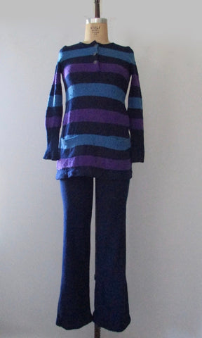 ROSALIND YEHUDA 60s Mod Knit Top & Pant Set, Small