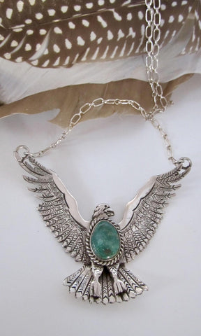 ROBERT KELLY Navajo Flying Eagle Silver & Turquoise Necklace, Mystical Bird