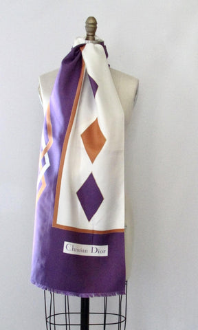 CHRISTIAN DIOR 70s Purple Diamond Print Silk Scarf, Made in France