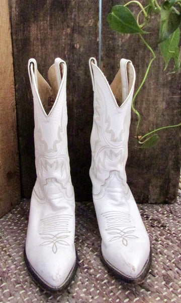 JUSTIN 80s White Leather Cowgirl Western Boots, Size 7 B
