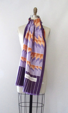 CHRISTIAN DIOR Vintage 70s Deco Inspired Silk Purple Scarf