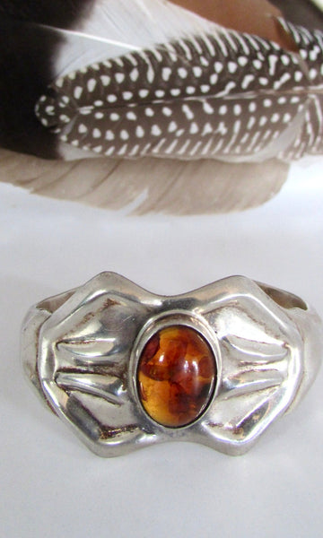 AMBER GLOW 80s Taxco Mexican Silver Cuff TG-228