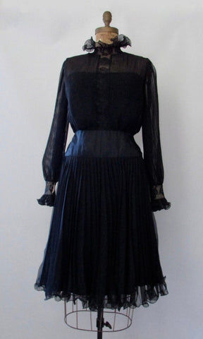 I. MAGNIN 60s Black Chiffon and Lace Dress Satin, Size Medium