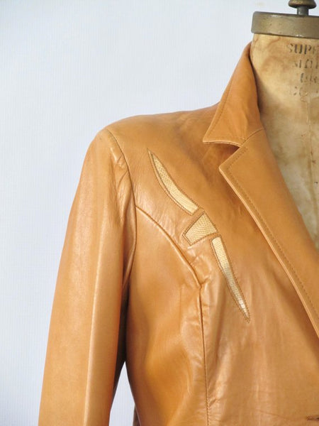 PIONEER WEAR 1990s Cognac Brown Leather Blazer