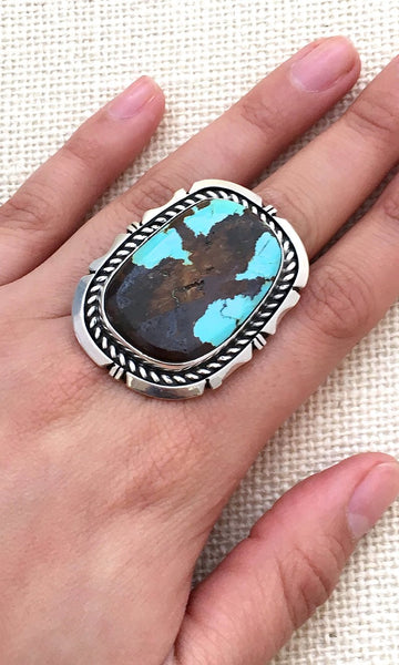 RING It ON Navajo ES Large Statement Sterling Silver and Turquoise Ring, Size 8