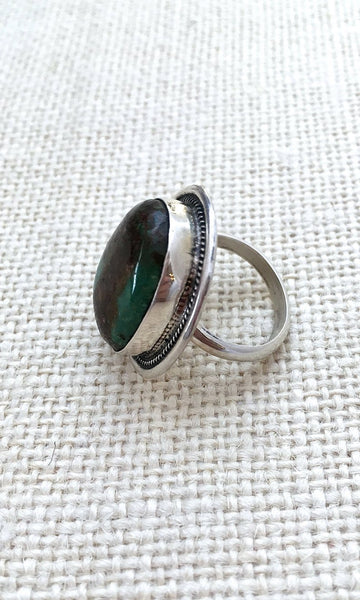 STONE IN LOVE Sterling Silver and Green Turquoise Chimney Butte Ring, Size 7