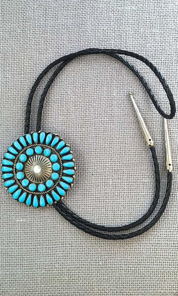 HERE COMES THE SUN Petit Point Sleeping Beauty Turquoise & Silver Bolo Tie