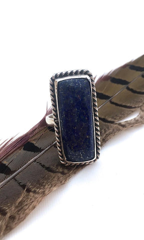 FEELING BLUE Chimney Butte Sterling Silver & Denim Lapis Lazuli Ring, Sz 8
