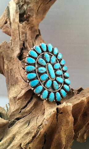 FASHION STATEMENT Large Needle Point Silver & Turquoise Ring by Bobby Becenti, Sz 10