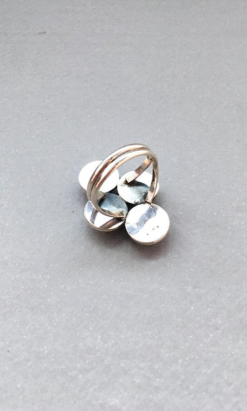 LOTTY DOTTY Sterling Silver and Spiny Oyster Cluster Ring, Sz 7 1/2