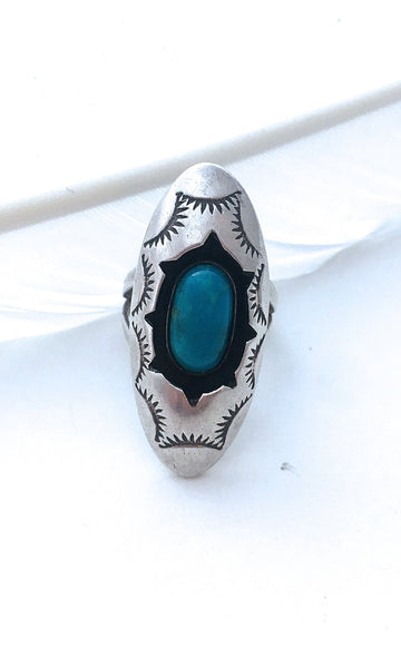 SHADOW BOXING 1970s JW Shadow Box Silver & Turquoise Ring, Size 7 1/4
