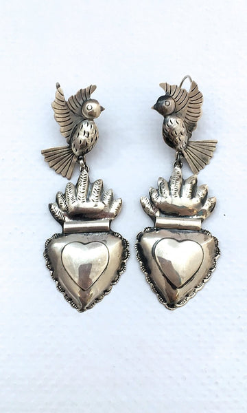 HEARTS ON FIRE Handcrafted Silver Birds and Sacred Heart Earrings by Federico Jimenez
