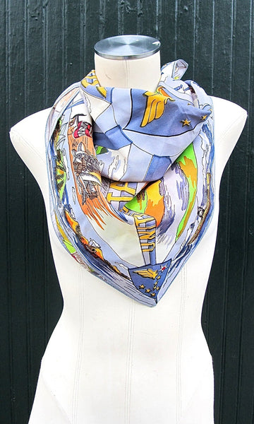 ALASKAN SIGHTS 1970's Vintage Detailed Alaskan Sights and Monuments Scarf