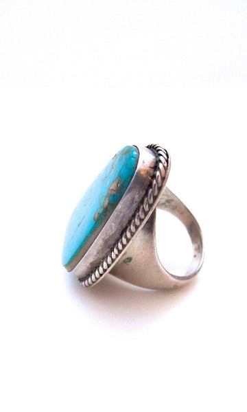 SUPER SIZE ME 1970s Large Statement Navajo Silver and Turquoise Ring, Sz 10 1/2