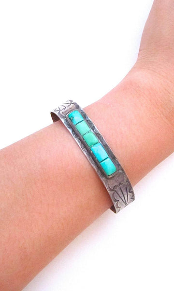 FRED HARVEY ERA Mens Silver & Turquoise Sun Rays Cuff