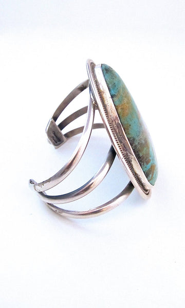 TURQUOISE ROCKS Royston Turquoise & Sterling Statement Cuff
