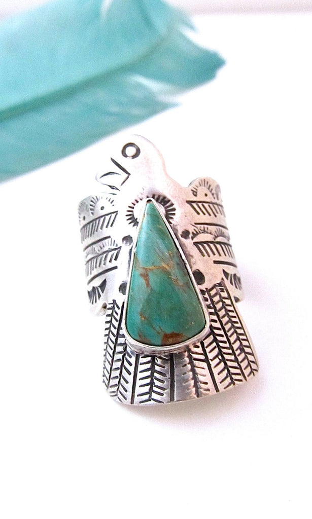 RUSSELL SAM Thunderbird Silver and Turquoise Ring, Sz 8 1/4