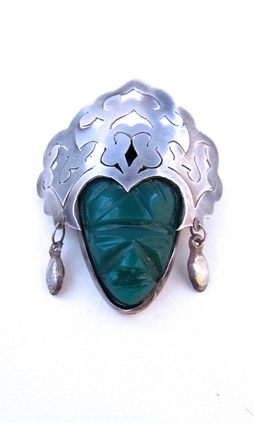 TRIBAL RULES 1950s Mexican Silver & Green Onyx Aztec Face Mask Brooch