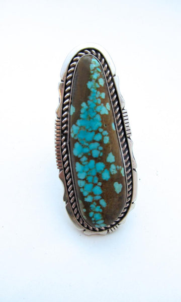 SUPER SIZE ME Navajo Silver and Turquoise Ring, Sz 13 1/2