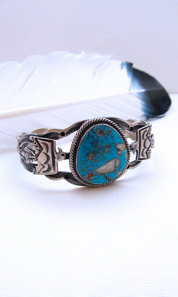 THUNDERBIRD Fred Harvey Style Silver & Turquoise Navajo Cuff