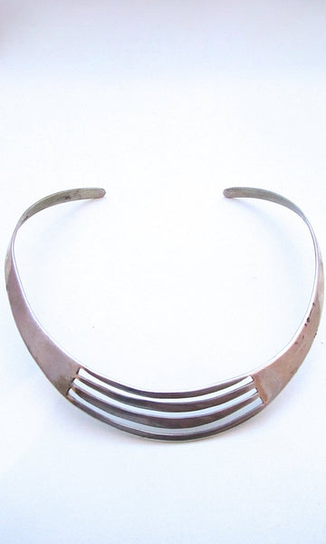 THE MODERNIST 70s Mexican Taxco Rae Silver Necklace, Collar Choker Cuff