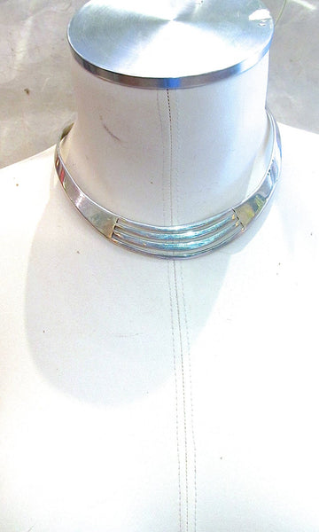 THE MODERNIST 1970s Minimalist Mexican Sterling Silver Collar Choker