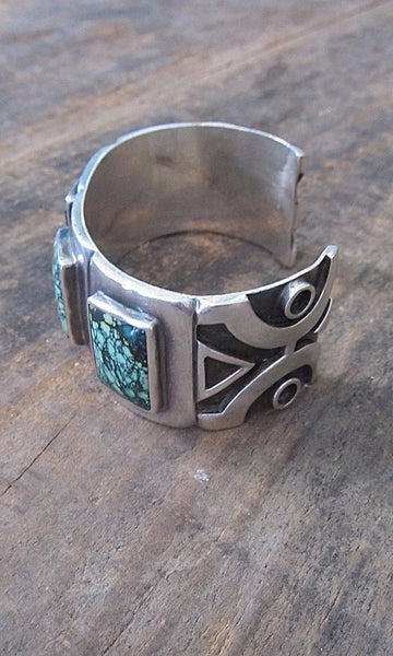 SPIDER WEB 1990s Saville Chunky 94g Sterling & Turquoise Cuff