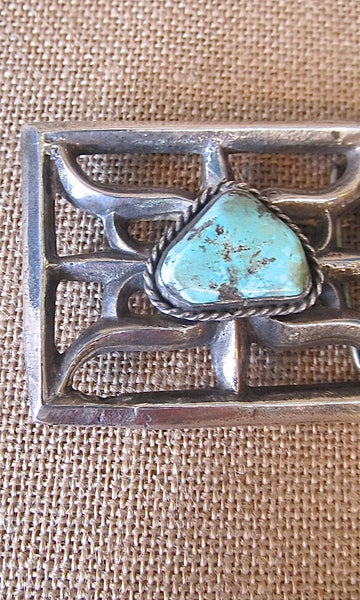 BUCKLE UP Nickel Silver & Turquoise Dyed Howlite Large Belt Buckle