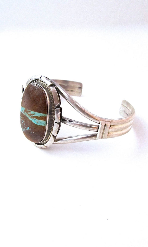 ROMANCING THE STONE Sterling Silver & Boulder Turquoise Cuff